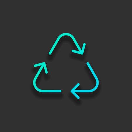 Symbol recyceln oder wiederverwenden. Dünne Pfeile, linearer Stil. Buntes Logo-Konzept mit weichem Schatten auf dunklem Hintergrund. Ikonenfarbe des azurblauen Ozeans