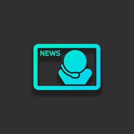 スピーカー付きのテレビニュース。暗い背景に柔らかい影を持つカラフルなロゴコンセプト。アズールオーシャンのアイコンカラー