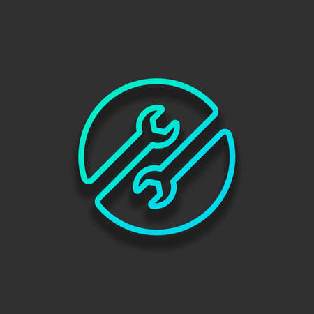 Repair service. Linear, thin outline. Colorful logo concept with soft shadow on dark background. Icon color of azure ocean Logo