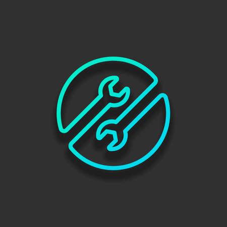 Servicio de reparación. Contorno lineal y fino. Concepto de logotipo colorido con suave sombra sobre fondo oscuro. Color de icono del océano azul Logos