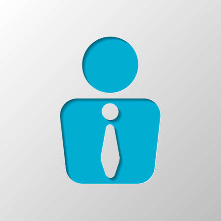 business man icon. Paper design. Cutted symbol with shadow