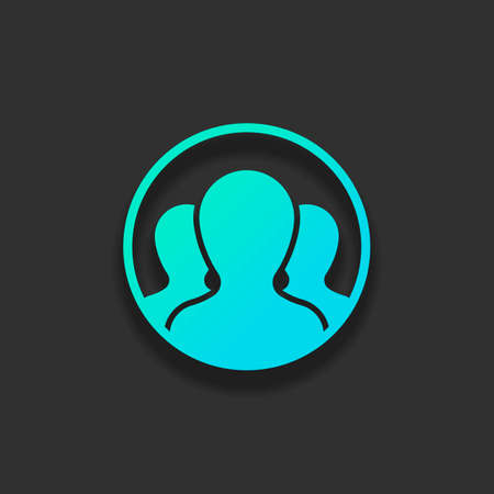 Team in circle, few person. Colorful logo concept with soft shadow on dark background. Icon color of azure ocean