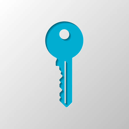 key icon. Paper design. Cutted symbol with shadow Illustration
