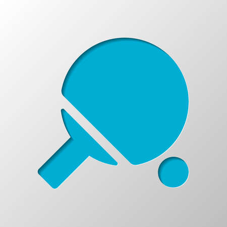 Ping pong icon. Paper design. Cutted symbol with shadow Stock Illustratie