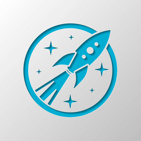 rocket launch with stars in circle icon. Paper design. Cutted symbol with shadow