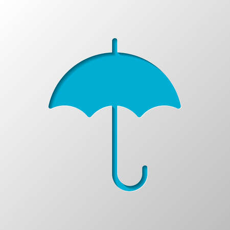 umbrella icon. Paper design. Cutted symbol with shadow