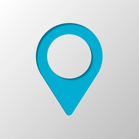 Map label icon. Paper design. Cutted symbol with shadow
