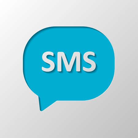 SMS-Symbol. Papiergestaltung. Geschnittenes Symbol mit Schatten