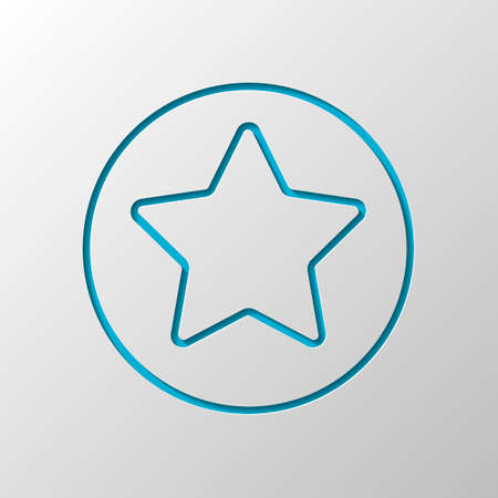star in circle icon. Paper design. Cutted symbol with shadow