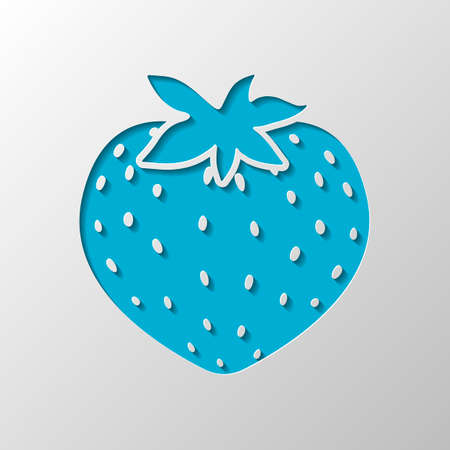 strawberry icon. Paper design. Cutted symbol with shadow