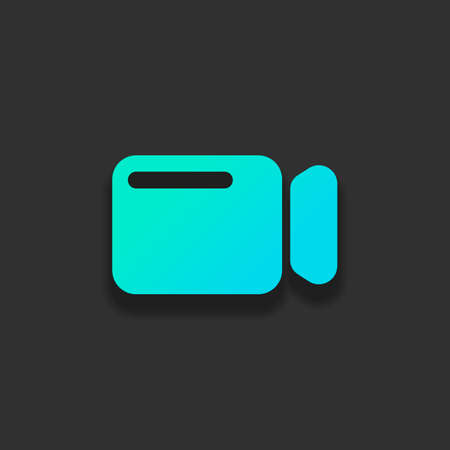 Simple video camera icon. Colorful logo concept with soft shadow on dark background. Icon color of azure ocean