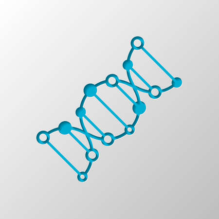 DNA icon. Paper design. Cutted symbol with shadow