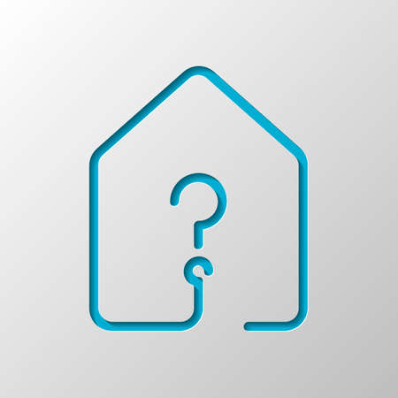 house with question mark icon. line style. Paper design. Cutted symbol with shadow