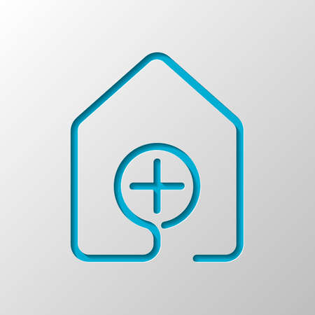 house with medical cross icon. line style. Paper design. Cutted symbol with shadow