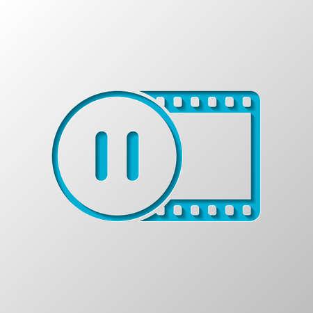 striscia di film con il simbolo di pausa nel cerchio. sagoma semplice. Disegno di carta. Simbolo tagliato con ombra
