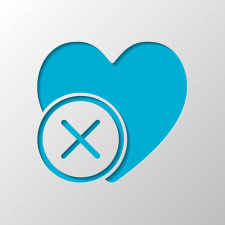 heart with cross. simple silhouette. Paper design. Cutted symbol with shadow