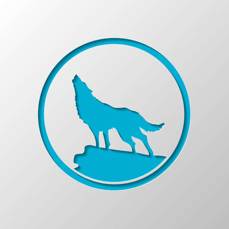 Wolf. einfaches Symbol. Papierdesign. Geschnittenes Symbol mit Schatten