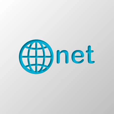 one of main domains, globe and net. Paper design. Cutted symbol with shadow