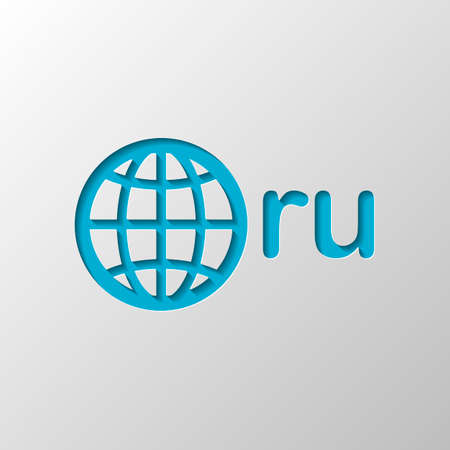 domain of Russia, globe and ru. Paper design. Cutted symbol with shadow Ilustração