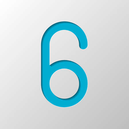 Number six, numeral, simple letter. Paper design. Cutted symbol with shadow