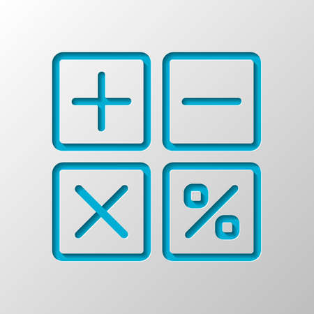 simple icon of calculator. Paper design. Cutted symbol with shadow Ilustração