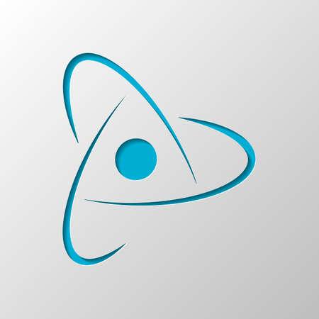 scientific atom symbol, creative logo, simple icon. Paper design. Cutted symbol with shadow
