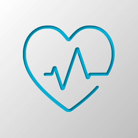 Línea de corazón y pulso. Estilo de una línea. Icono lineal con contorno delgado. Diseño de papel. Símbolo cortado con sombra Ilustración de vector