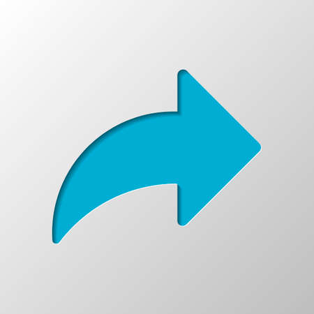 Share icon with arrow. Paper design. Cutted symbol with shadow