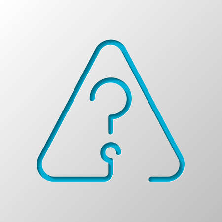 Question mark in warning triangle. Linear icon with thin outline. One line style. Paper design. Cutted symbol with shadow