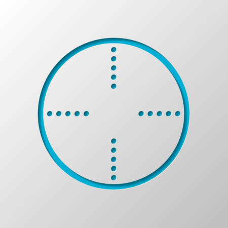 Simple target icon. Paper design. Cutted symbol with shadow