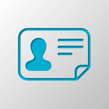 Identification card icon. ID profile. Paper design. Cutted symbol with shadow
