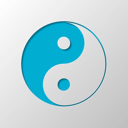 symbole yin yan. Conception de papier. Symbole coupé avec une ombre