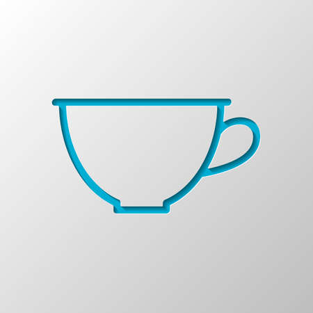 Simple cup of coffee or tea. Linear icon, thin outline. Paper design. Cutted symbol with shadow
