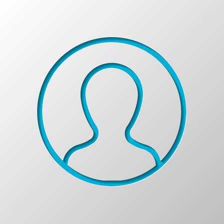 Profile, person in circle. Paper design. Cutted symbol with shadow Vetores