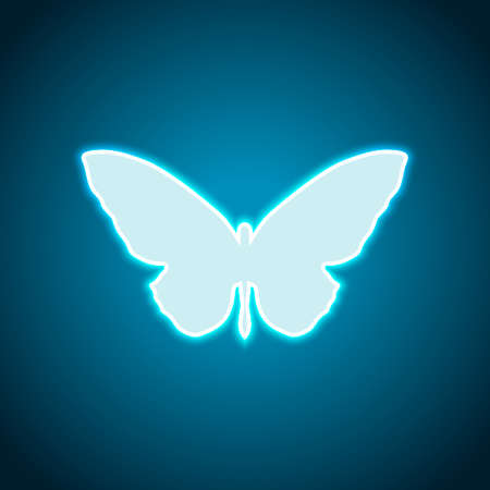 butterfly icon. Neon style. Light decoration icon. Bright electric symbol