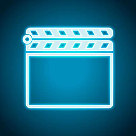 Film clap board cinema close icon. Neon style. Light decoration icon. Bright electric symbol Illustration