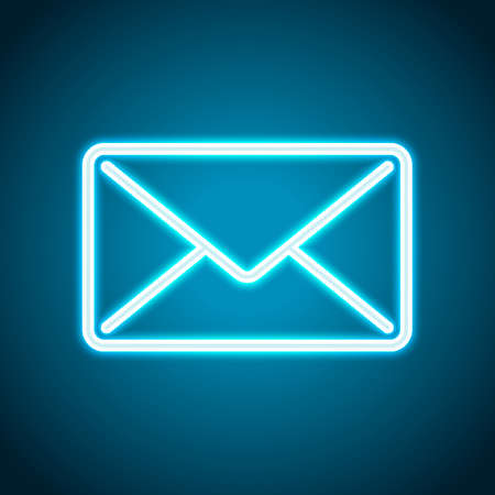 mail close icon. Neon style. Light decoration icon. Bright electric symbol