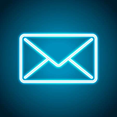 mail close icon. Neon style. Light decoration icon. Bright electric symbol