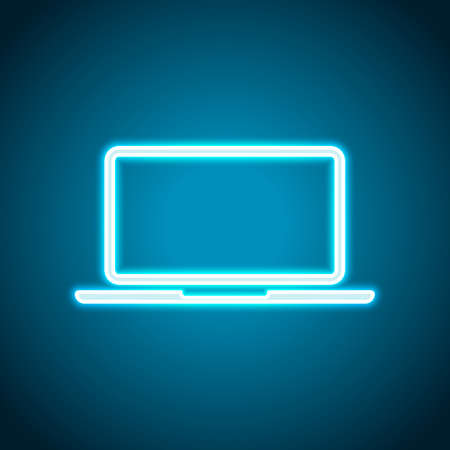 Laptop or notebook computer icon. Neon style. Light decoration icon. Bright electric symbol