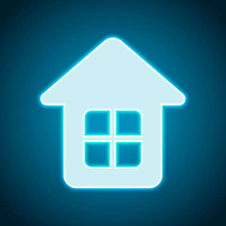 Simple house icon. Neon style. Light decoration icon. Bright electric symbol Vector Illustration