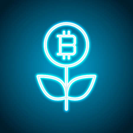 Money flower with bitcoin. Money tree. Linear icon with thin outline. Neon style. Light decoration icon. Bright electric symbol