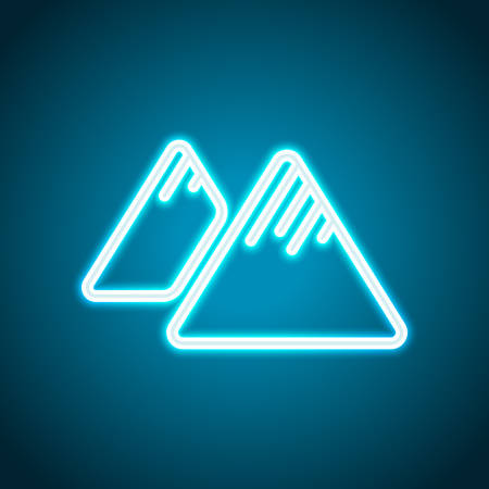 Mountains icon. Linear style with thin outline. Neon style. Light decoration icon. Bright electric symbol  イラスト・ベクター素材