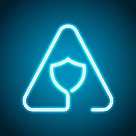 Shield in warning triangle. Problem with protect. Linear icon with thin outline. One line style. Neon style. Light decoration icon. Bright electric symbol