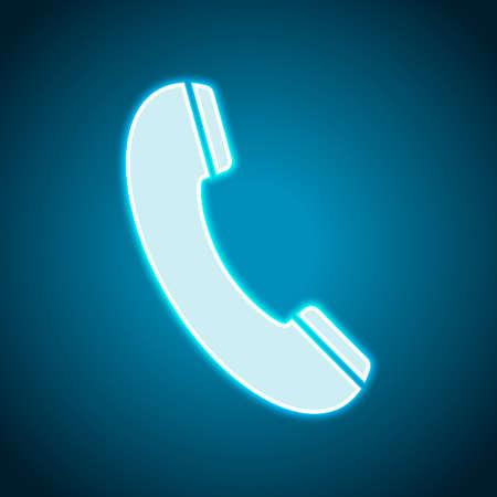 Telephone receiver icon. Neon style. Light decoration icon. Bright electric symbol