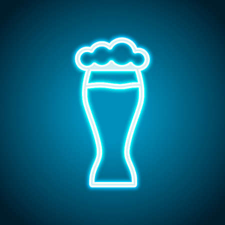 Beer glass. Simple linear icon with thin outline. Neon style. Light decoration icon. Bright electric symbol Illustration