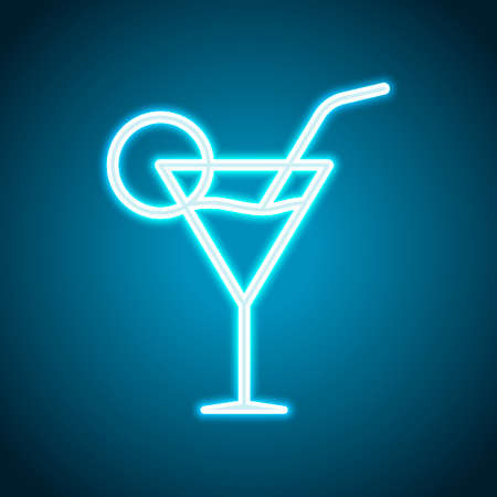 Coctail glass. Simple linear icon with thin outline. Neon style. Light decoration icon. Bright electric symbol