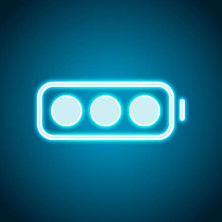batteria semplice, livello pieno. Stile neon. Icona della decorazione leggera. Simbolo elettrico luminoso