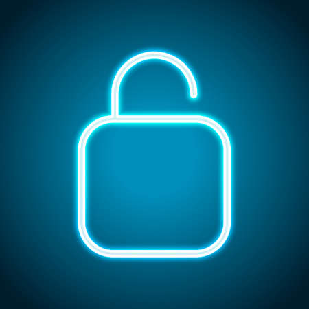 Simple unlock. Linear, thin outline. Neon style. Light decoration icon. Bright electric symbol