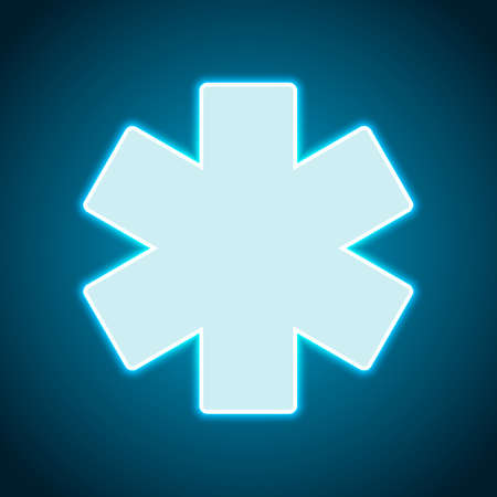 Star of life. Neon style. Light decoration icon. Bright electric symbol