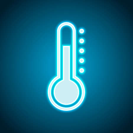Simple thermometer icon. Neon style. Light decoration icon. Bright electric symbol